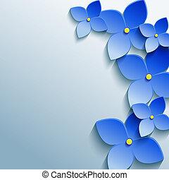 azul, cinzento, abstratos, fundo, floral, flores, 3d
