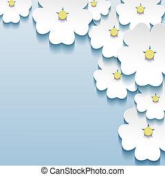 azul, cinzento, abstratos, -, fundo, sakura, floral, flores, 3d
