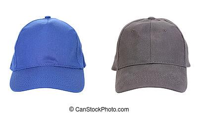azul, cinzento, caps., peaked, trabalhando