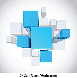 azul, cinzento, cubos, abstratos, fundo, 3d