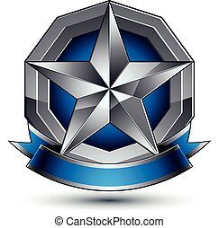 azul, cinzento, emblema, clássicas, emblema, claro, isolado...