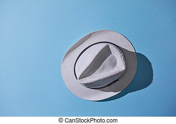 azul, cinzento, isolado, fundo, macho, chapéu