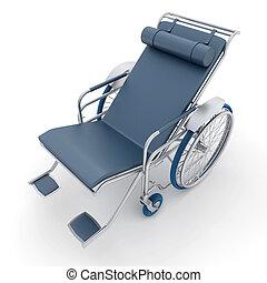 azul, cinzento, longue, cadeira rodas, chaise