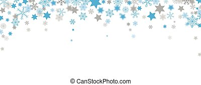 azul, cinzento, natal, manchete, snowflakes, estrelas