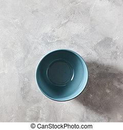 azul, cinzento, pedra, apartamento, porcelana, tigela, isolado, fundo, configuração