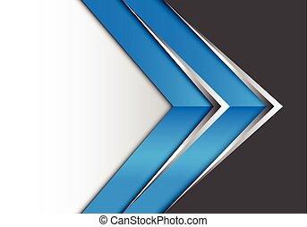 azul, cinzento, projeto abstrato, seta, branca, prata
