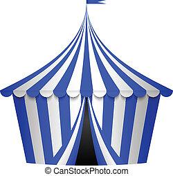 azul, circo, ilustración, vector