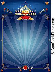 azul, circo, magia, cartel