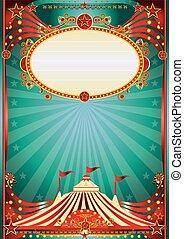 azul, circo, magia, experiência vermelha