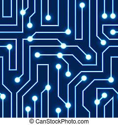 azul, circuito, vetorial, tábua, fundo