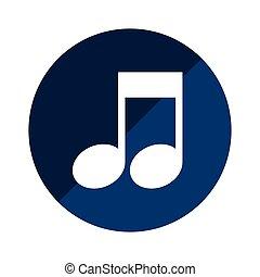 azul, circular, emblema, com, nota musical