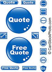 azul, citação, botão, livre, lustroso, ícone