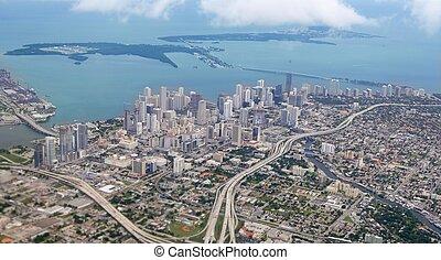 azul, ciudad, aéreo, miami, céntrico, vista de mar