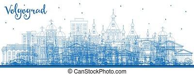 azul, ciudad, contorno, contorno, volgograd, rusia,...