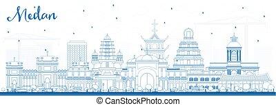 azul, ciudad, contorno, indonesia, contorno, medan, ...