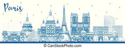 azul, ciudad, contorno, parís francia, contorno, edificios.