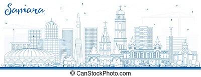azul, ciudad, contorno, samara, contorno, rusia, edificios.
