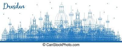 azul, ciudad, dresden, contorno, contorno, alemania,...