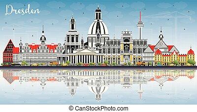azul, ciudad, dresden, edificios, color, cielo, contorno,...