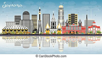 azul, ciudad, edificios, color, cielo, samara, contorno,...