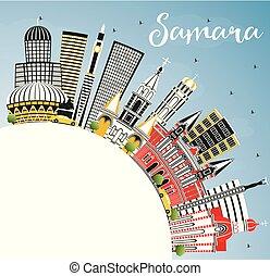 azul, ciudad, edificios, color, cielo, space., samara,...
