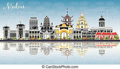 azul, ciudad, edificios, color, indonesia, cielo, contorno, ...
