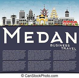 azul, ciudad, edificios, color, indonesia, cielo, space., ...