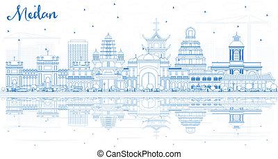 azul, ciudad, edificios, contorno, indonesia, contorno, ...