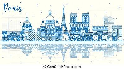 azul, ciudad, edificios, contorno, parís francia, contorno, ...