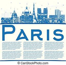 azul, ciudad, edificios, contorno, parís, space., francia, ...