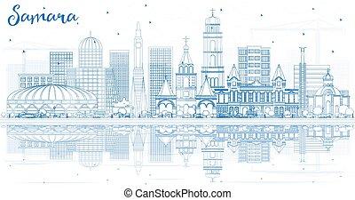 azul, ciudad, edificios, contorno, samara, contorno,...