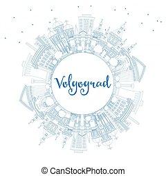 azul, ciudad, edificios, contorno, space., contorno,...