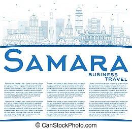 azul, ciudad, edificios, contorno, space., samara, contorno,...