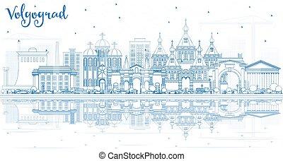 azul, ciudad, edificios, contorno, volgograd, contorno,...
