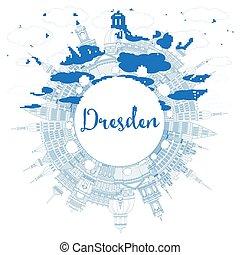 azul, ciudad, edificios, dresden, contorno, space.,...
