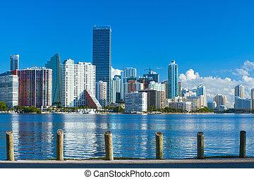 azul, ciudad, edificios, florida, verano, miami, panorama, ...