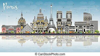azul, ciudad, edificios, parís, cielo, francia, color, ...