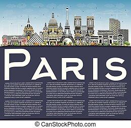 azul, ciudad, edificios, parís, cielo, space., francia, ...