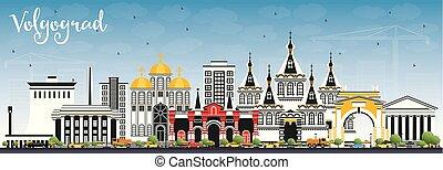 azul, ciudad, edificios, sky., color, contorno, volgograd,...