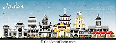 azul, ciudad, edificios, sky., color, indonesia, contorno, ...