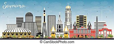 azul, ciudad, edificios, sky., color, samara, contorno,...