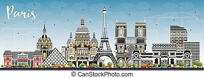 azul, ciudad, edificios, sky., parís francia, color, ...