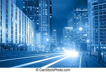 azul, ciudad, financiero, florida, tráfico, miami, foto, ...