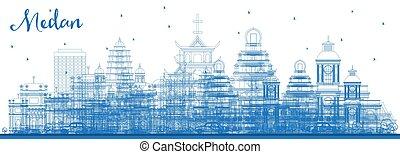 azul, ciudad, indonesia, contorno, edificios., medan, ...