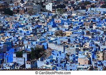 azul, ciudad, jodhpur, casa, india, estado, rajasthan,...
