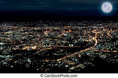 azul, ciudad, tiempo, escena, luna, luces, noche, tailandia