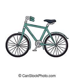azul, clásico, bicicleta