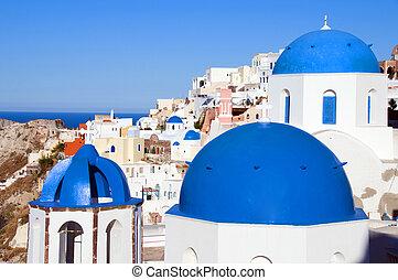 azul, clásico, isla, cúpula, oia, santorini, iglesias, vista