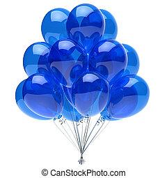 azul, clássicas, balões, partido, hélio, translúcido, grupo