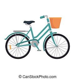azul, clássicas, bicicleta